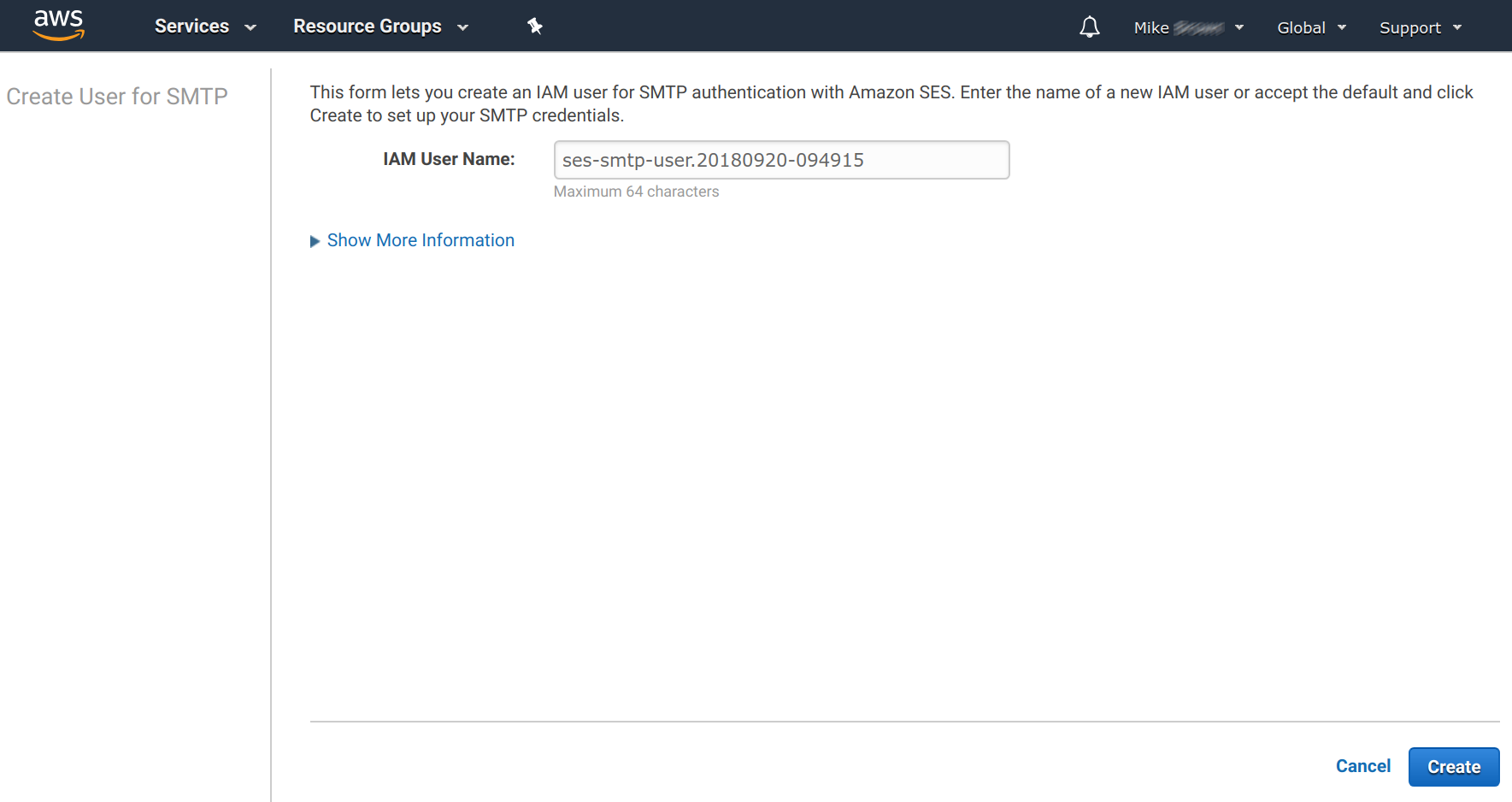 Amazon SES - Creating SMTP User