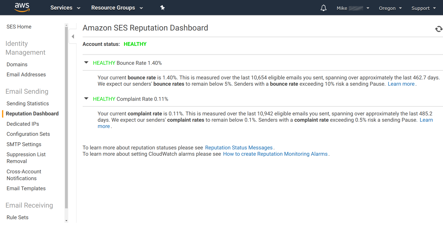 Amazon SES - Reputation Dashboard