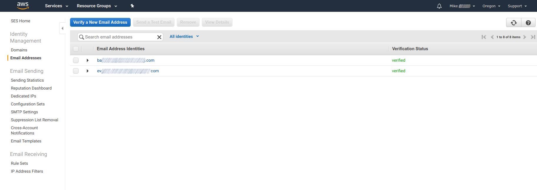 Amazon SES - Verified Email Address