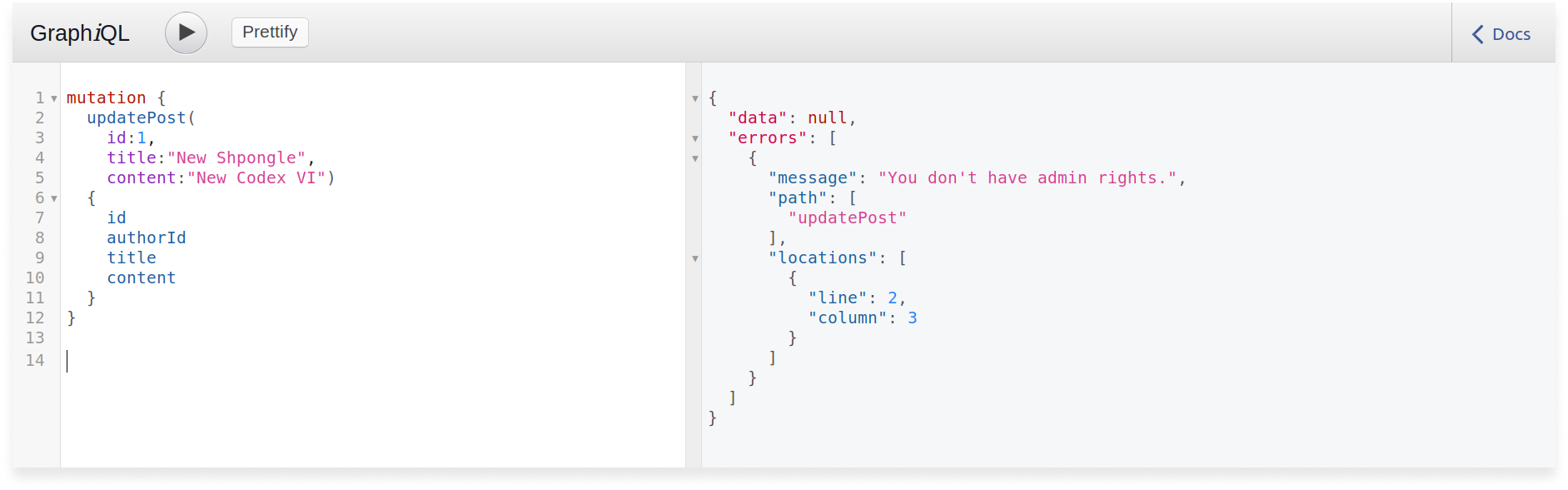 GraphQL query to update a post in a Scala GraphQL application. The post is not updated because no access rights.