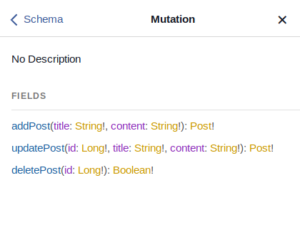 The Docs tab with a mutation in the GraphiQL interface