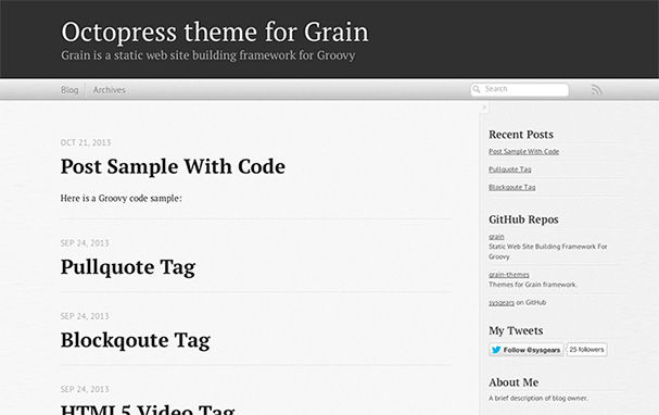 Grain Octopress Theme